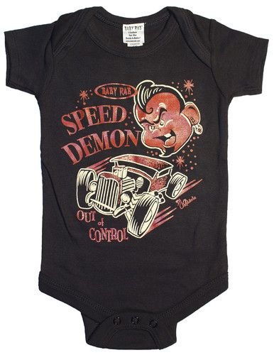 Baby RAB Speed Demon Rat Rod Rockabilly Baby Onesie Black | eBay