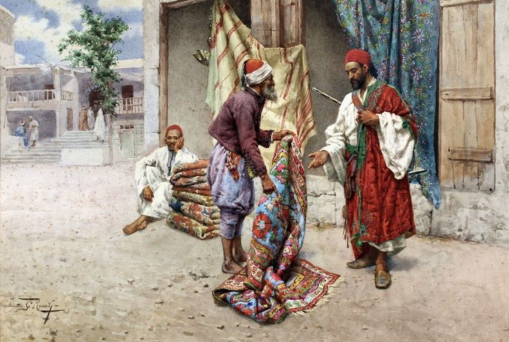 Giulio Rosati (1858-1917) - Arabian Carpet Sellers