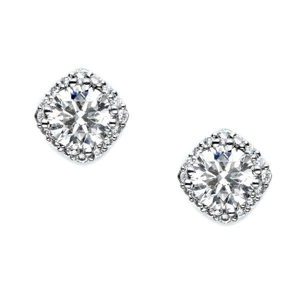 18k White Gold Tacori Dantela Collection Pave Halo Diamond Stud Earrings