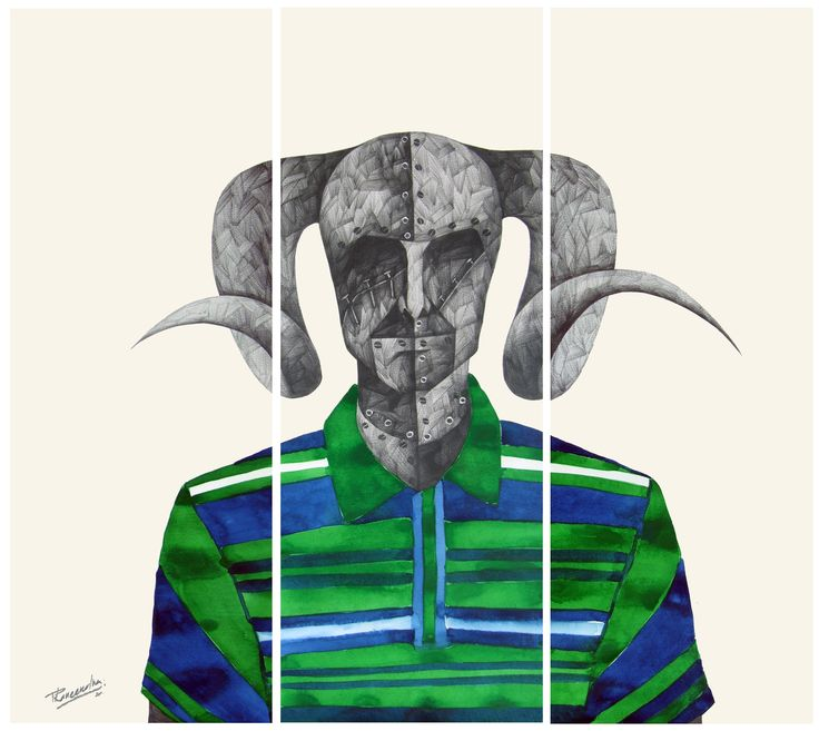 'B' for Bull by Phaneendra Nath Chaturvedi Pencil & water color on archival paper, 33 X 30 Inc., Work in 6 units (each unit 11 X 30 inc.), 2011