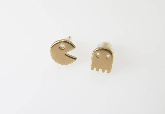 cd71fd741 Tiny gold stud earrings.gold pac man earrings. Tiny Ghost Charm earrings. gold  earrings. Minimalist post earrings. 14k earrings