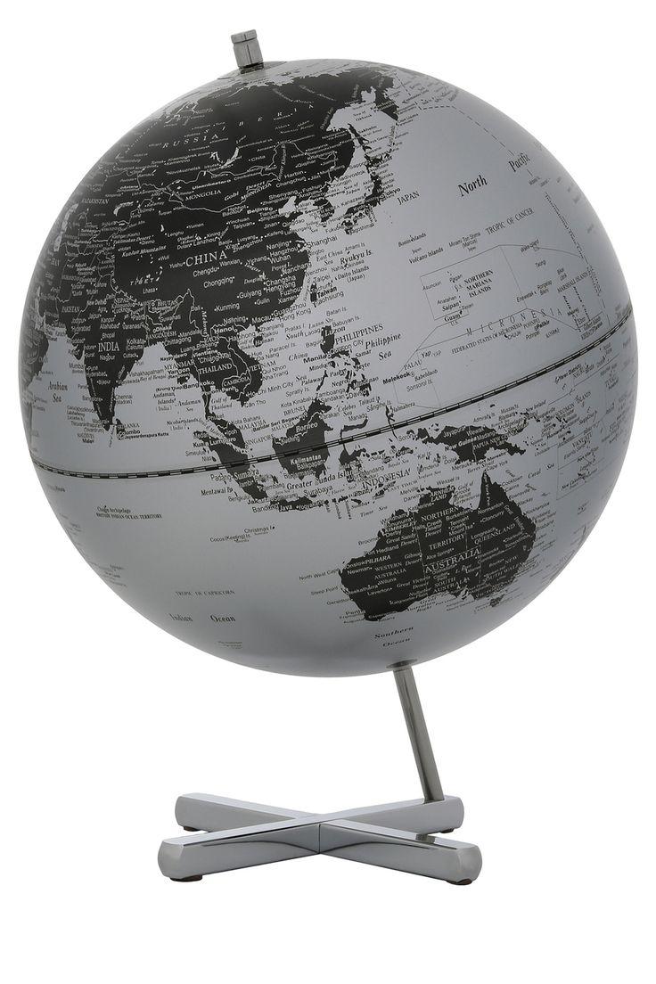 Vue | Contemporary World Globe X Base, 30cm - Matte Silver | Myer Online