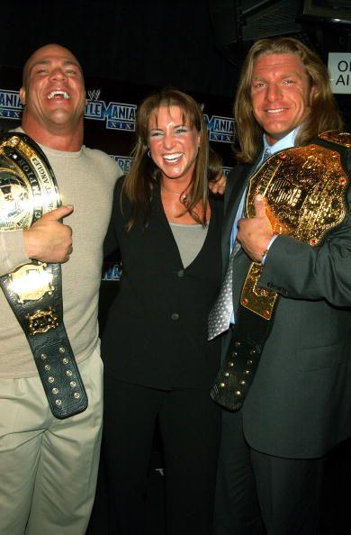 Kurt Angle, Triple H and Stephanie McMahon