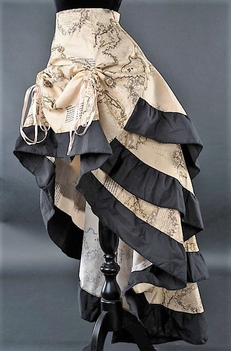 fade1535d35 Gothic Victorian Steampunk Vintage Map Atlas World Print Bustle Ruffle Skirt