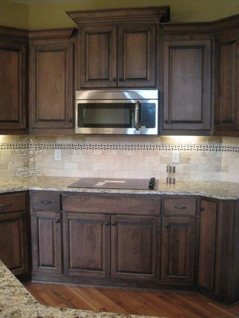 131 best kitchen images on pinterest for Dark kitchen cabinets with light granite