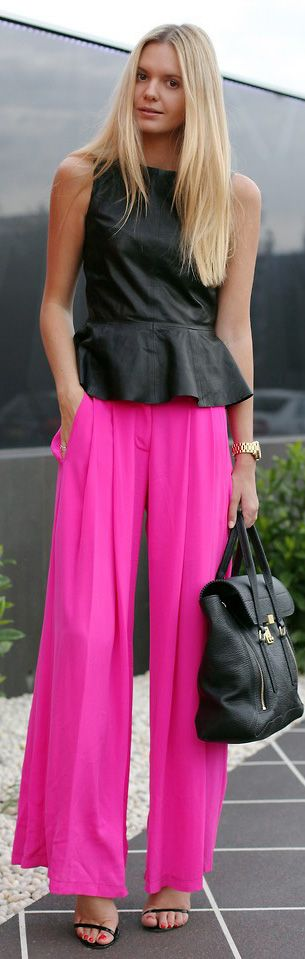 H&M Leather Peplum Top, Camilla And Marc Wide Leg Neon Pants