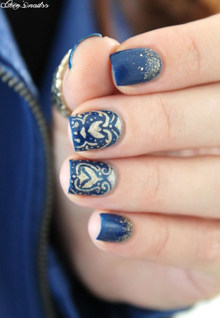 Baroque Nail Art Blue Nails Cocosnailss Nails Pinterest