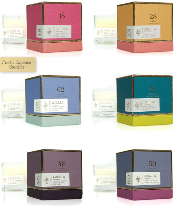 Poetic License Candles by Lollia. The names alone would sell these beauties (the packaging doesn't hurt either).
