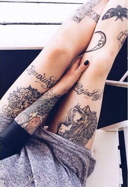 Thigh/leg tattoos.