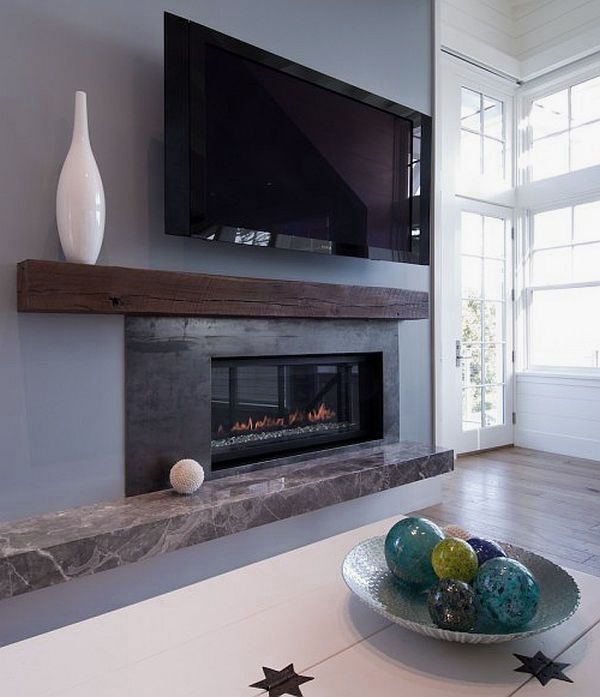 Modern Beach House Living Room Fireplace Mantle Decorating Ideas - like the asymmetrical mantle here, the rough wood beam