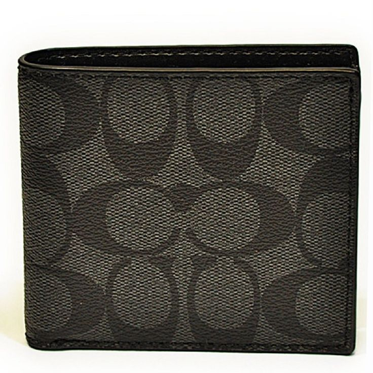 Coach Mens F75006 Charcoal black Coin Case in Signature Wallet