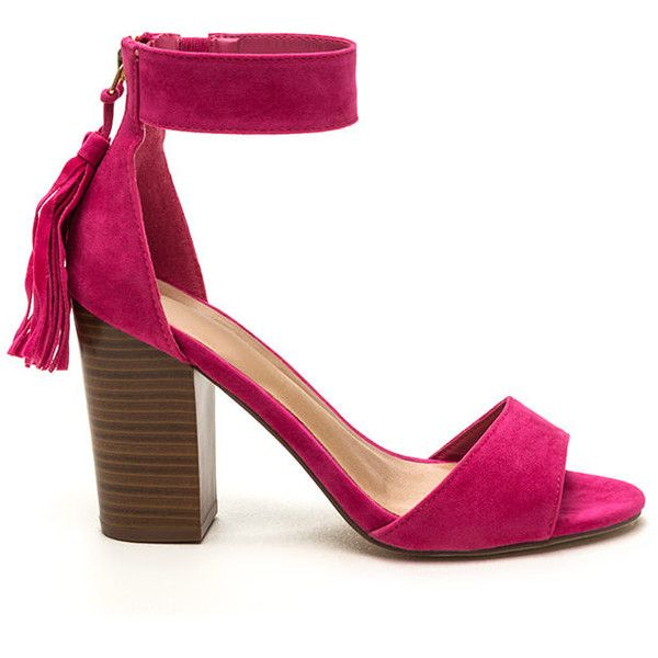 Two To Tassel Chunky Faux Suede Heels FUCHSIA ($23) ❤ liked on Polyvore featuring shoes, pumps, pink, open toe shoes, faux suede t-strap pumps, thick-heel pumps, fuchsia pumps and strappy shoes
