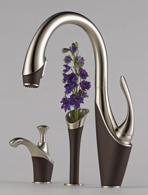 I just had a new faucet put into my kitchen this morning, but it was not a graceful faucet based on a swan. This is the one I would have liked, complete with elegant kitchen to match.