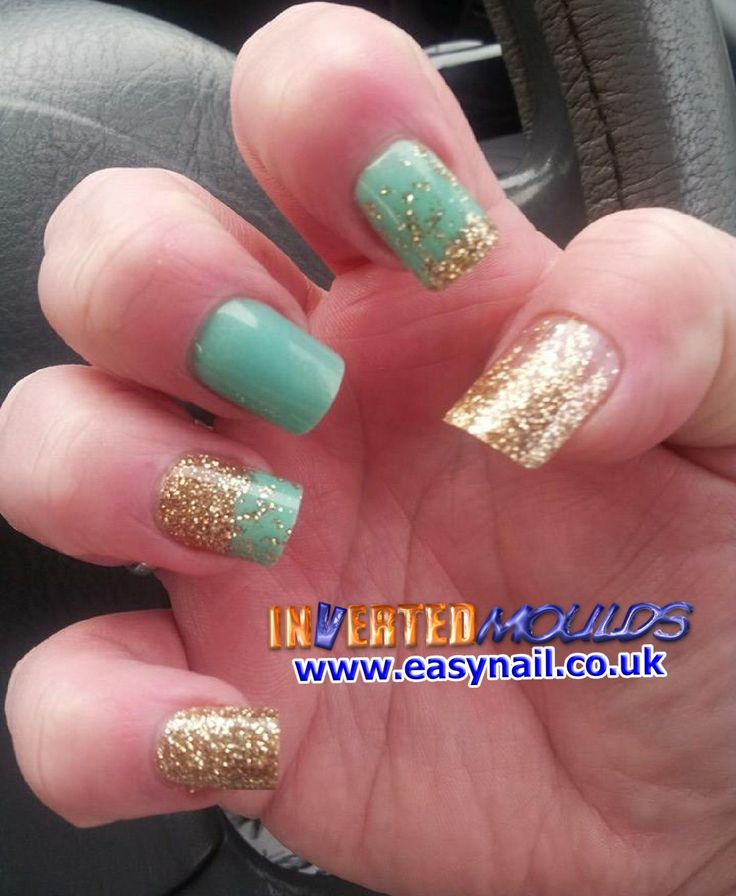 Mint Green Prom Nail: Mint Green And Gold Glitter Inverted Moulds By Glenda