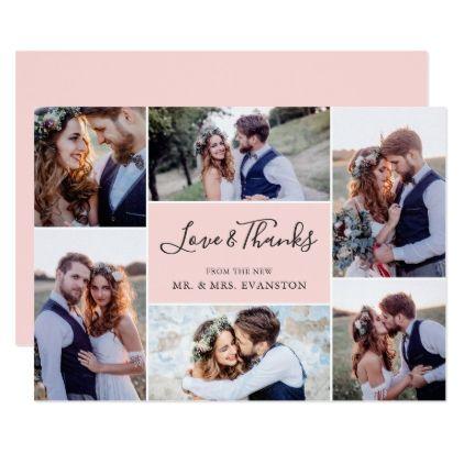 photo collage wedding thank you flat card blush wedding thank