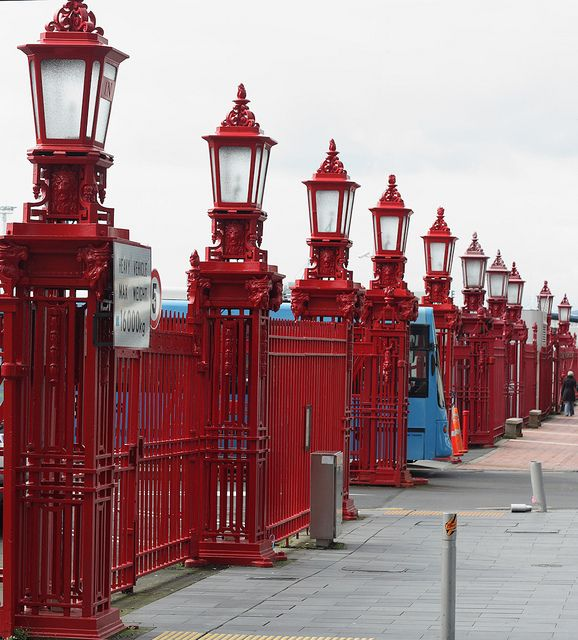 Antique lampposts, Quay Street, Auckland, The North Island, New Zealand. The work to enclose Auckland's wharves with gates, fences & lamp standards was commenced in 1913.