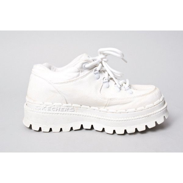 90s Vintage White Spice Girls Tread Lug Sole Club Kid Rave Sketchers... ($33) ❤ liked on Polyvore featuring shoes and white