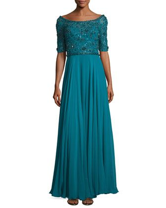 Sequined+Half-Sleeve+Boat-Neck+Gown,+Emerald+by+Jenny+Packham+at+Neiman+Marcus.
