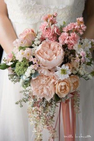 アプリコット ピンク ピオニー ナチュラル クラッチブーケ  bridal bouquet