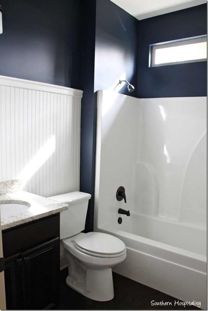 Ruby Moved In The Lake Cottage Navy Blue Bathroom Decor
