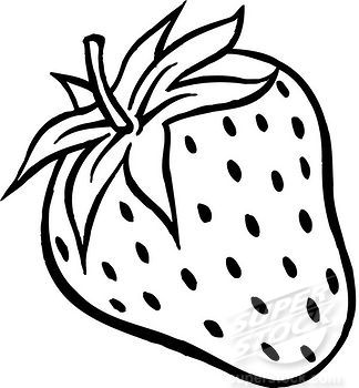 A black and white drawing of a plump strawberry | Stock ...