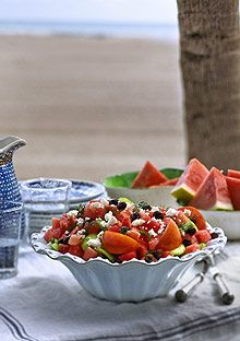Watermelon and Tomato Salad with Feta My 6 year old wants to try this...without the olives, of course ;)