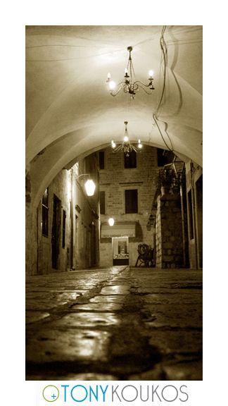 alleyway, lights, chandeliers, windows, night, dubrovnik, croatia, europe, travel, photography, art, Tony koukos, places