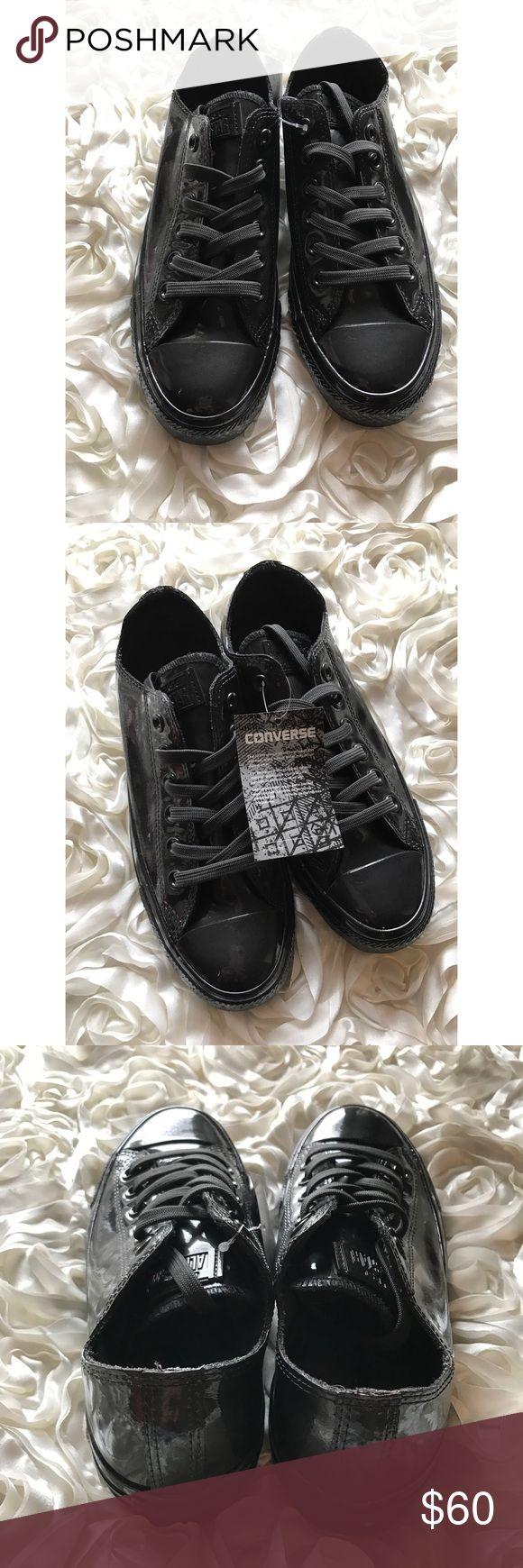 Black Converse All black shiny converse. Converse Shoes Sneakers