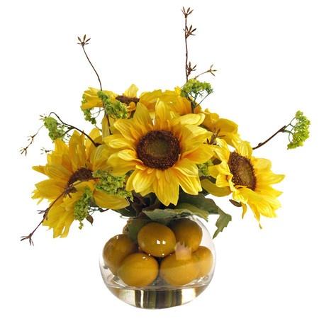 Silk Sunflower And Lemon Arrangement In A Glass Vase