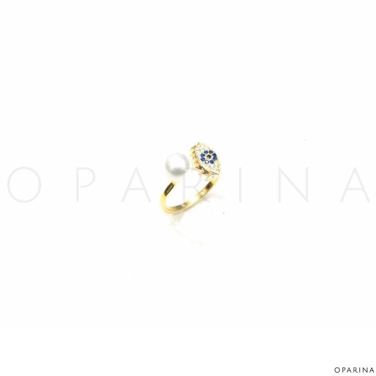 Anillo en Plata Dorada de Ojo Turco con Perla. #anillo #ring #turkisheye #evileye #oparina #boho #bohochic #gypsy  #madewithstudio