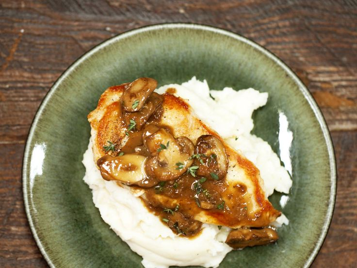 Make an easy chicken dish topped with a savory mushroom sauce for a tasty meal that's ready in minutes.
