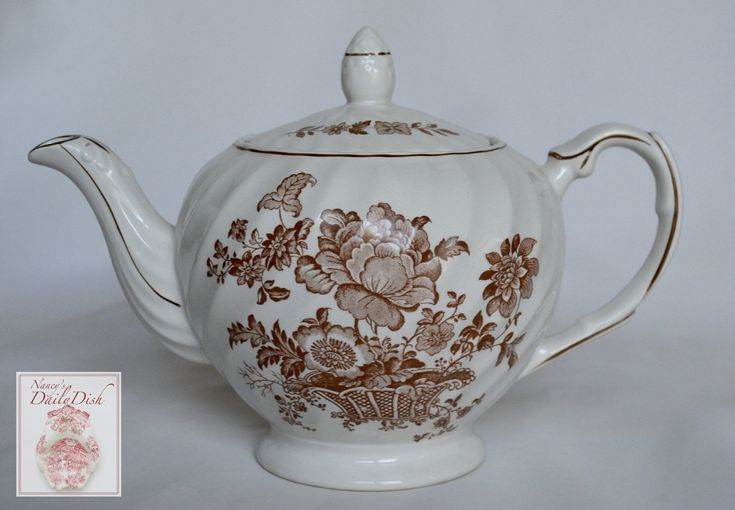 Vintage Staffordshire Brown Transferware Teapot English Tea Pot Charlotte Victorian Basket of Flowers