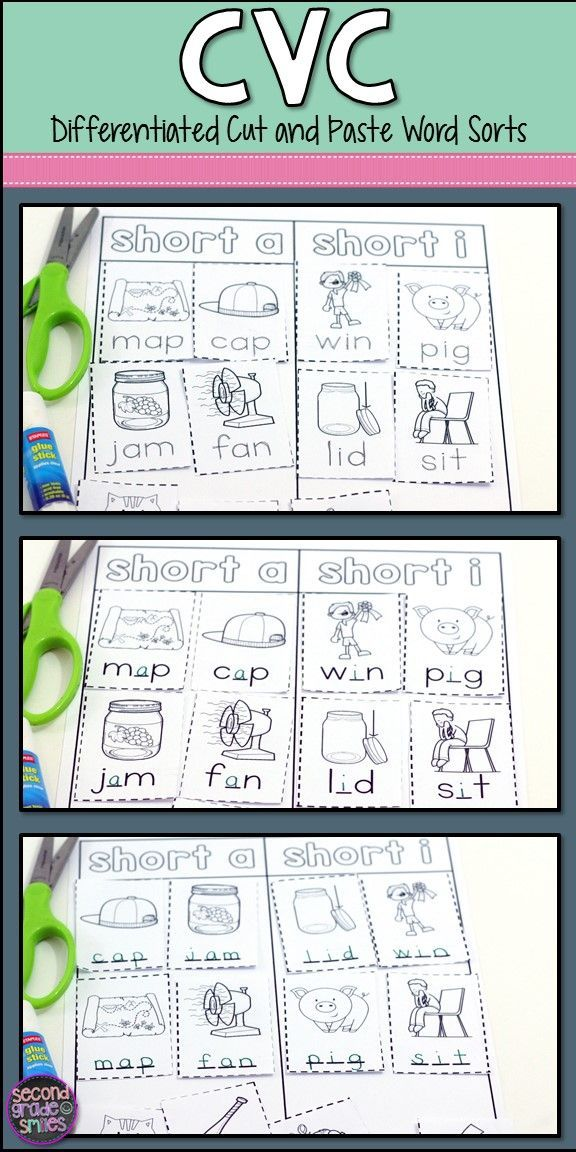 These CVC cut and paste phonics printables are a great way for kindergarten and first grade students to practice segmenting, spelling, and sorting. I love that they focus on medial vowel sounds! Great for a hands-on word work center and each worksheet comes in three levels, making these activities easy to differentiate!