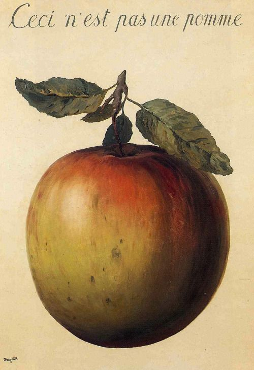 René Magritte, Ceci n'est pas une pomme (This is not an apple), 1964.  http://magictransistor.tumblr.com/post/115092106106/ren%C3%A9-magritte-ceci-nest-pas-une-pomme-this-is