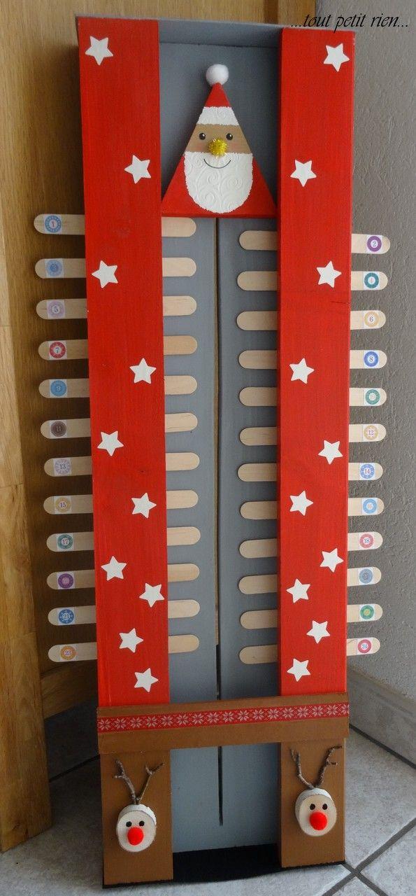 Calendrier de l'Avent bricolé avec les enfants. Avec des boîtes d'allumettes et des bâtonnets en bois. www.toutpetitrien.ch et www.pinterest.com/fleurysylvie