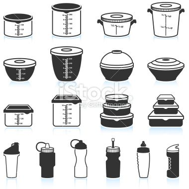 Food and Liquid Containers black & white vector icon set Royalty Free Stock Vector Art Illustration