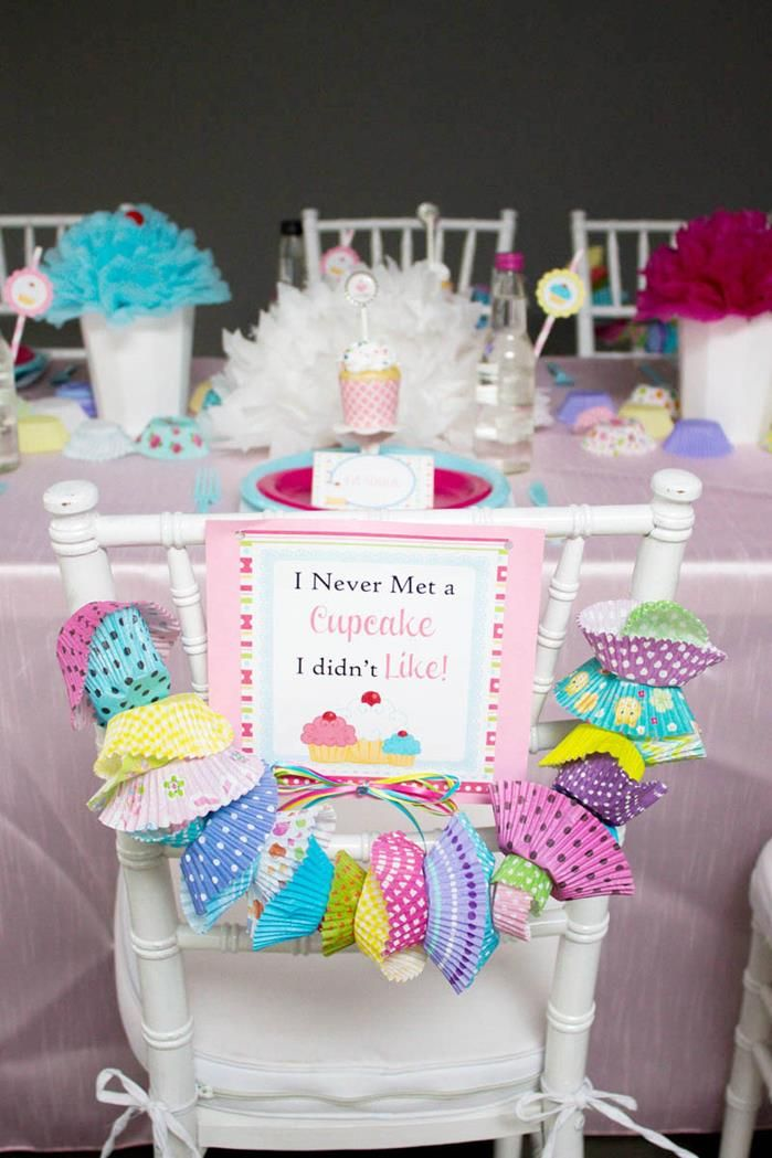 Banner made out of Cupcake liners! Cupcake Party with Lots of Really Cute Ideas via Kara's Party Ideas
