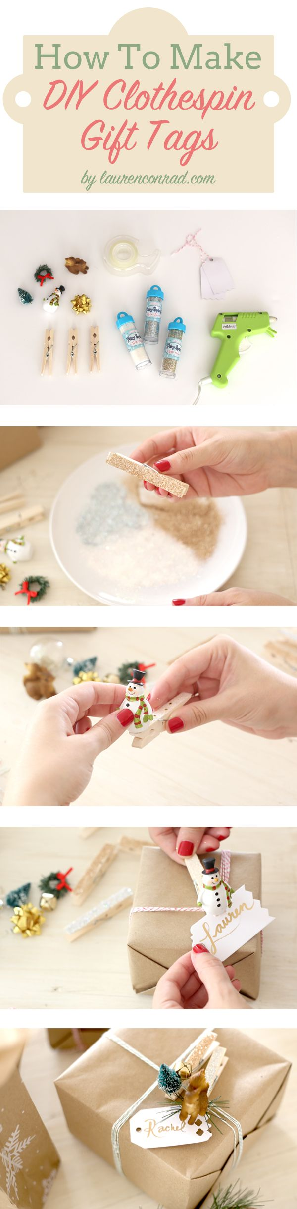 How to Make a DIY Clothespin Holiday Gift Tag {love this!}