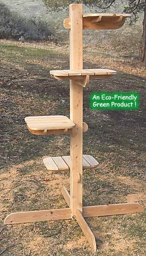 "Outdoor Cat Tree, Eco Friendly Rustic Unfinished Cedar, Four Levels, 71"" High  need to build one for kitten's night-time window access"