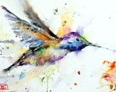 HUMMINGBIRD Watercolor Print by Dean Crouser. $25.00, via Etsy.