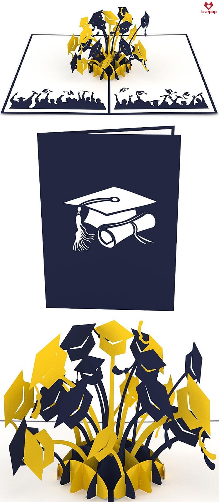 Gift your favorite grad a pop up card full of graduation hats in blue and gold. Perfect paper art for the aspiring young graduate! #Congrats #NewGrad