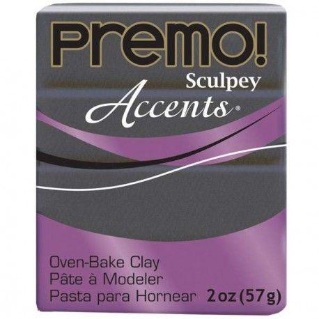 Pate à modeler #polymère#Sculpey PremoAccentsGris Graphite Pearl POPE5120, en pain de 57 gr.