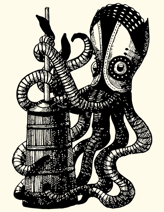 Steampunk. Pen illustration. animated gif. Churning squid.  By Eli H. Han http://elihshan.com  For BOOST&Co - mezzanine finance