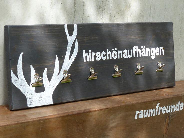 """Geweihe & Trophäen - Kleines Memoboard """"hirschönaufhängen"""", anthrazit - ein Designerstück von raumfreunde bei DaWanda"""