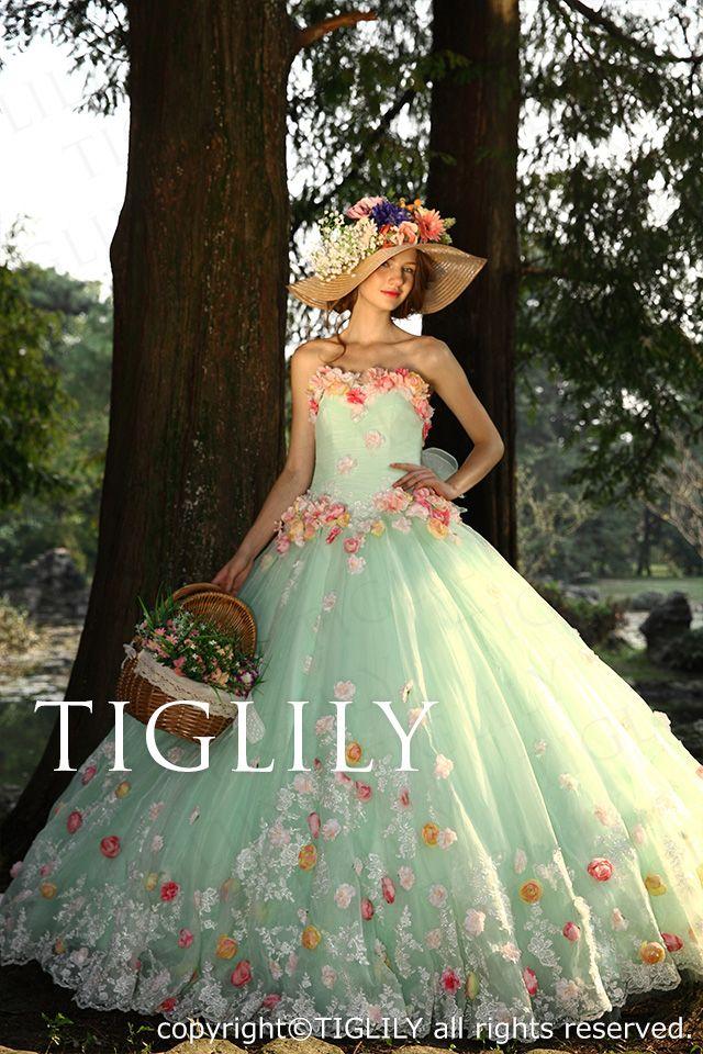 【楽天市場】ウェディングドレス_ウエディングドレス_カラードレス_花ドレス(c116):ブライダルアモーレ