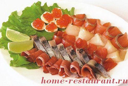 Рыбное ассорти, рыбная тарелка, рыбная нарезка,пошаговые фото