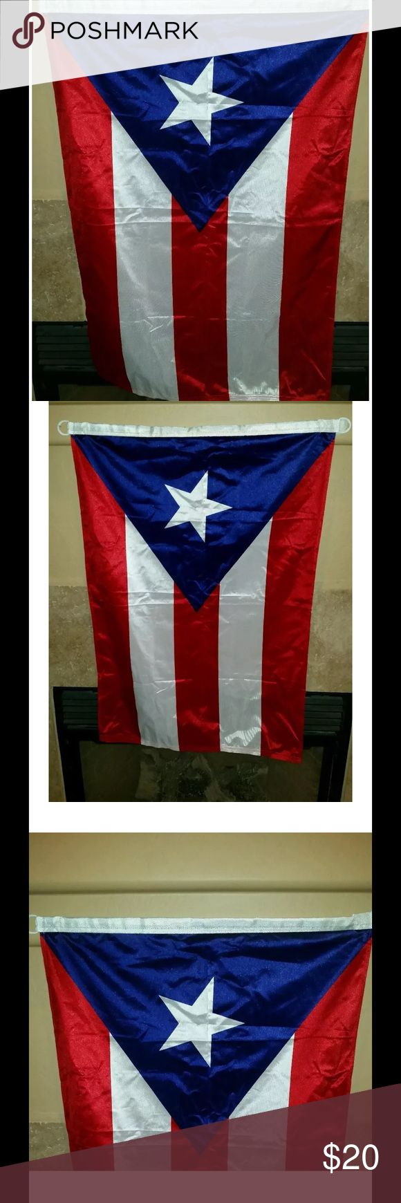 """Flag of Puerto Rico 34"""" X 23"""" for sale is a flag for the country Puerto Rico. Flag is in excellent condition with no rips or stains. This is made by the Alamo Flag Company. Has two plastic rings on the end of the flag so you can hang it without putting a thumbtack, nail, anything through the actual flag.   The measurements of the flag is 34 x 23   If you have any questions or would like additional photos please feel free to ask. Please view my other listings, Alamo flag company Other"""