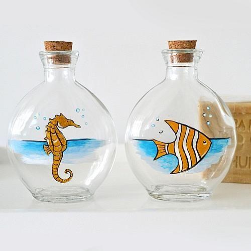 Marine Animal Bottles - Project by DecoArt