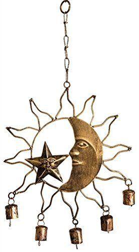 K&N- Vintage Outdoor Bronze Moon & Sun Windchime Art Rustic Bells Garden Decor #KandN #Vintage
