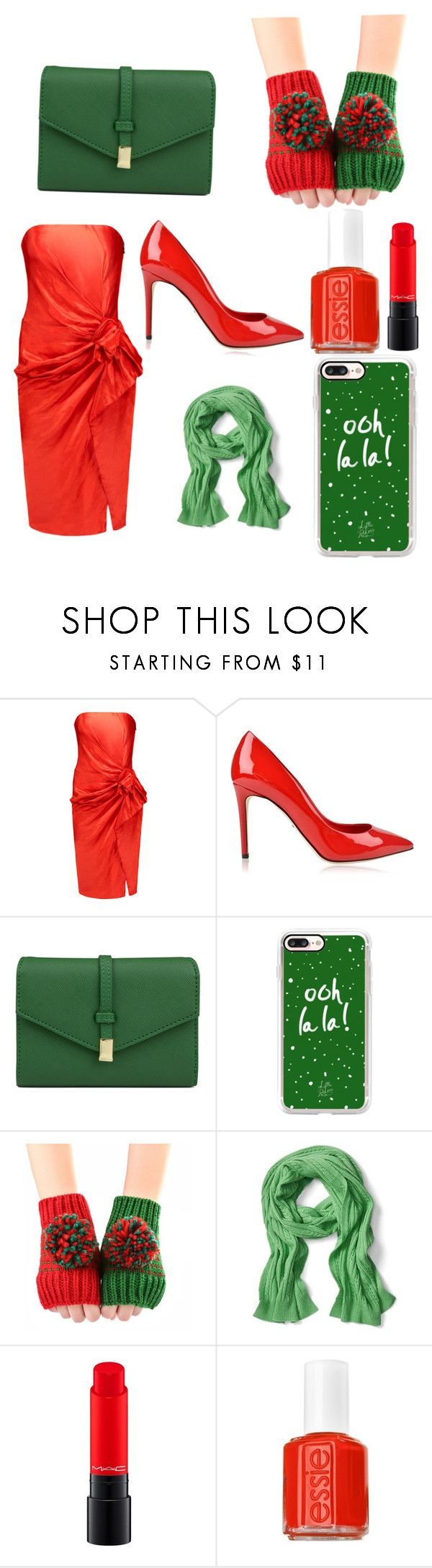 """""""Red and Green,What does that mean?"""" by lgroezinger-1 ❤ liked on Polyvore featuring Lanvin, Dolce&Gabbana, Mundi, Casetify, Banana Republic, MAC Cosmetics and Essie"""
